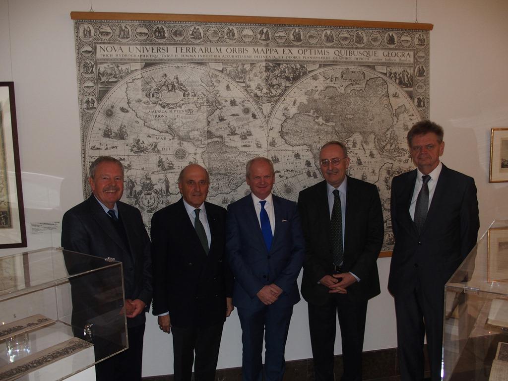 Aktueller DPS-Vorstand von links nach rechts: Dr. Konrad Vanja, Dr. Tessen von Heydebreck, RA Wojciech Wrzecionkowski; Dr.-Ing. Henning von Krosigk, RA Udo Donau (Februar 2015)
